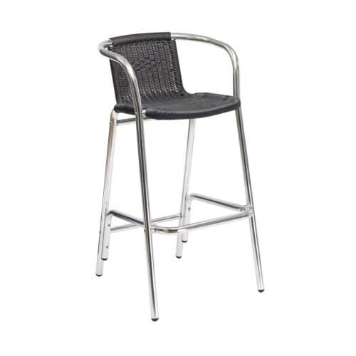 black weave outdoor arm barstool with chrome frame