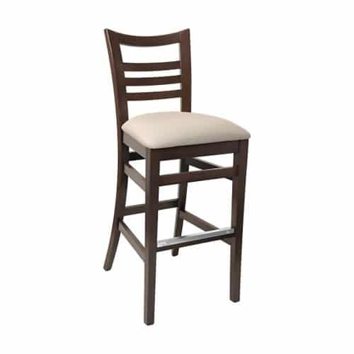 wood barstool with upholstered seat and ladder back