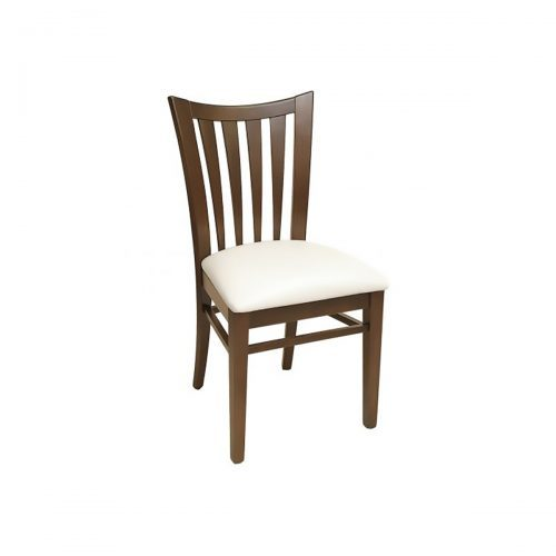 wood chair with upholstered seat and vertical bars