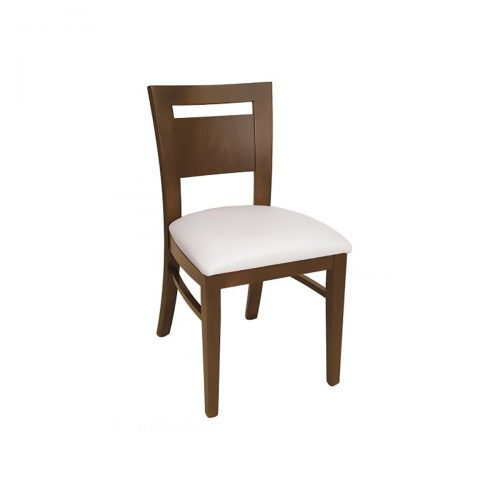 wood chair with wood back and upholstery