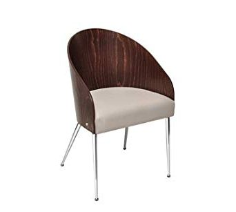 modern chair with chrome frame and wood shell back and upholstery