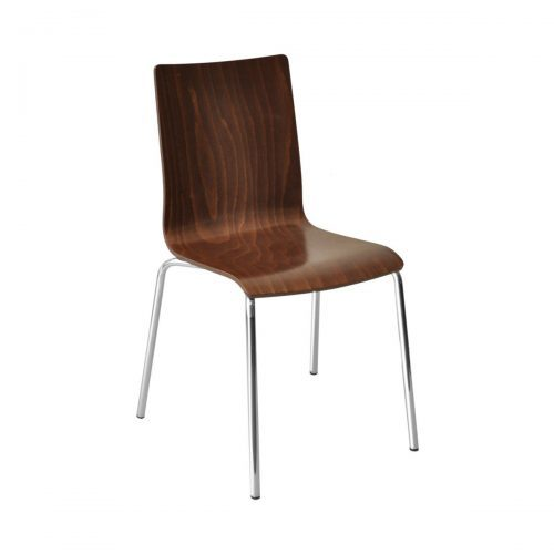 wood shell chair with chrome frame