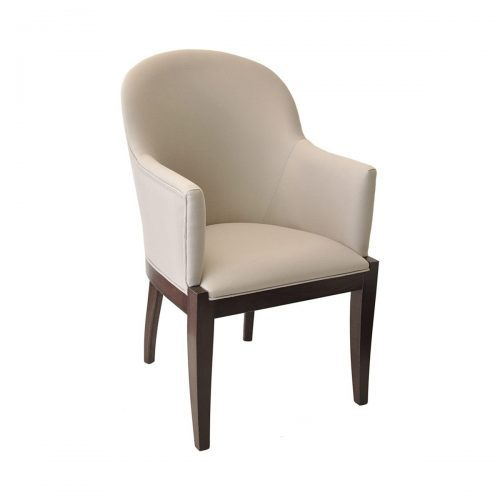 wood frame arm chair with upholstered sides seat and back