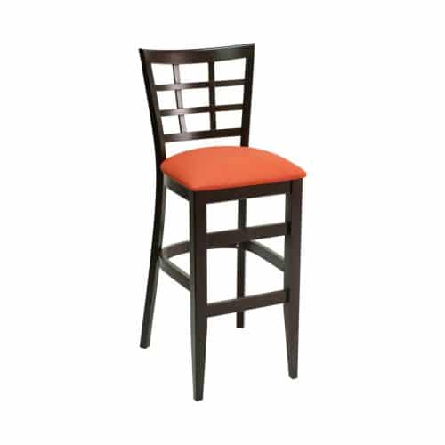 wood barstool with back window design and upholstered seat