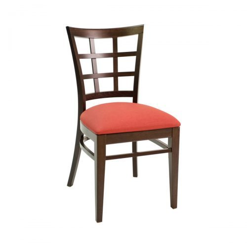 wood side chair with window back and upholstered seat