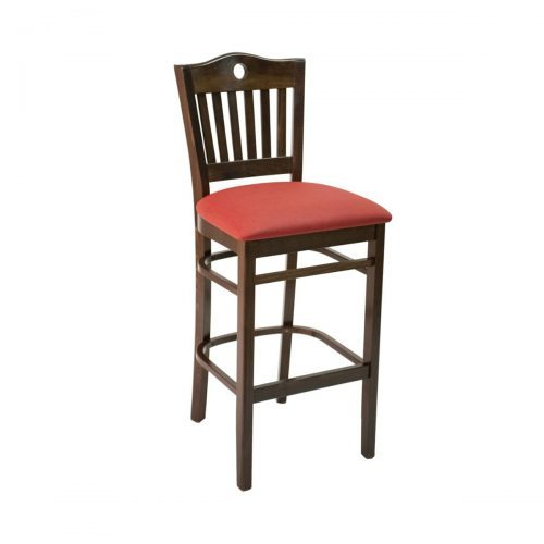 wood barstool with vertical back bars and key hole and upholstered seat
