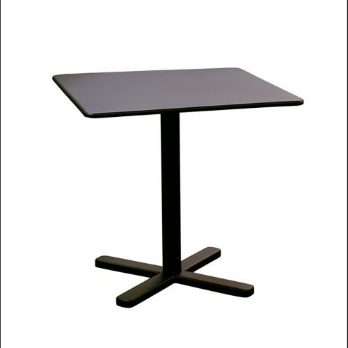 """square table with cross base in solid steel 28"""" Sq."""