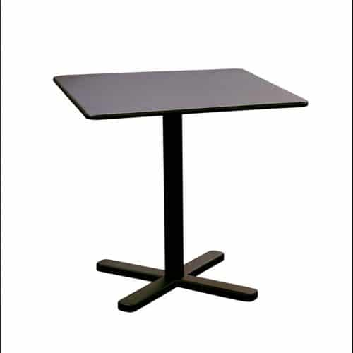 "square table with cross base in solid steel 28"" Sq."
