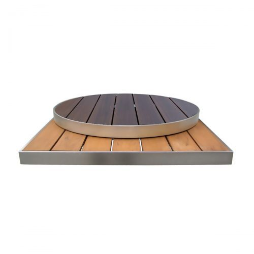 outdoor table top in light wood and dark wood
