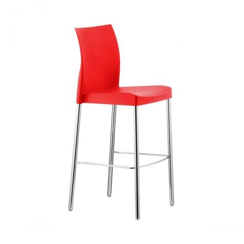 red barstool with silver frame