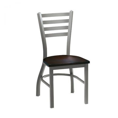 metal chair with wood seat and ladder back