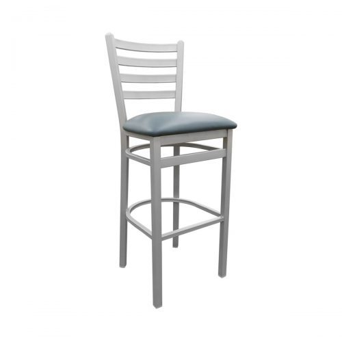 metal ladder back barstool with upholstery and silver finsh
