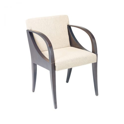 modern wood armchair with upholstery