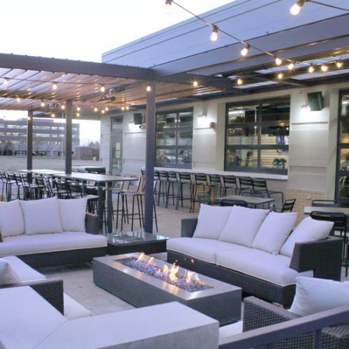 furniture installation of patio lounge couches and barstools