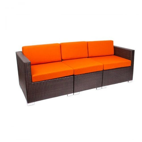 aruba outdoor sectional with orange upholstery and java weave seat