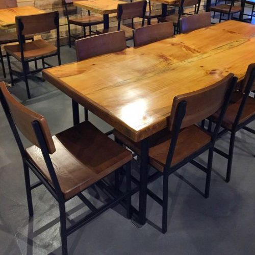 thick wood table tops and chairs for restaurant