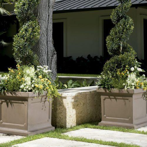 outdoor gray stone planters