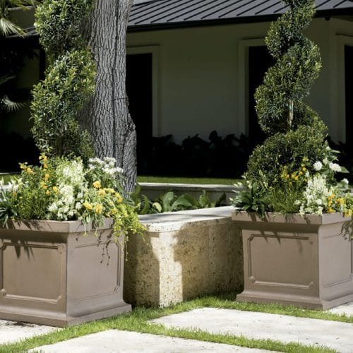outdoor gray stone planters
