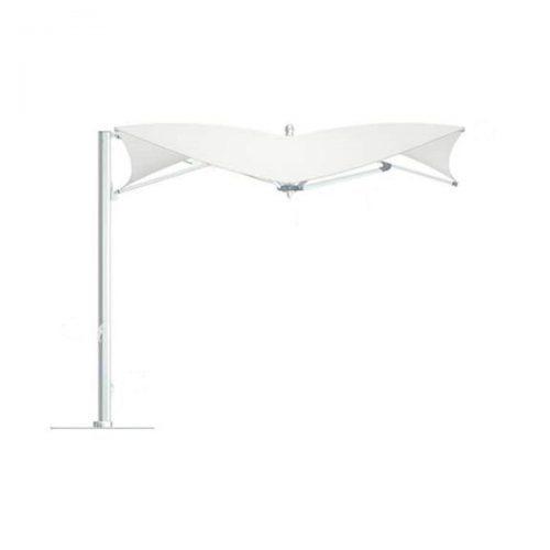 cream cantilver umbrella with silver pole