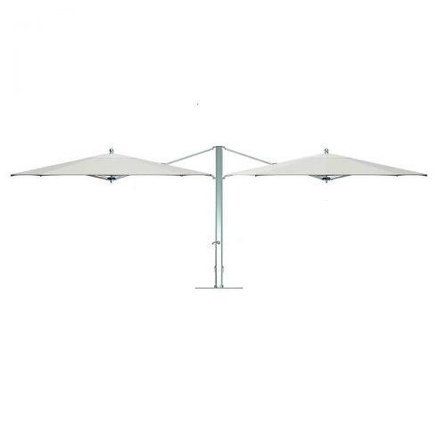 cream double umbrella with silver pole